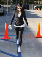 Kim Kardashian booty and busty in tights leaving fitness salon inToluca Lake from CelebMatrix
