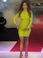 Jennifer Lopez looks amazing in short green dress during promotion appearance in Sao Paulo from CelebMatrix