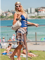 Paris Hilton looking very hot in swimsuit at Bondi Beach in Sydney from CelebMatrix
