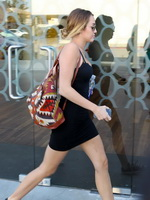 Miley Cyrus upskirt in a skimpy dress wearing no panties while leaving a pilates in Hollywood from CelebMatrix