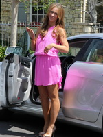 Jennifer Love Hewitt hot upskirt in short sexy pink dress outdoor in LA from CelebMatrix