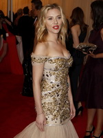 Scarlett Johansson busty in a strapless dress wearing no bra at Metropolitan Museum of Art's Costume Institute Gala from CelebMatrix