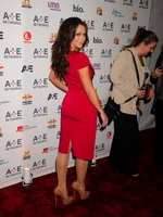Jennifer Love Hewitt showing big cleavage and hard ass in short red dress at the AE Networks 2012 Upfront in New York from CelebMatrix