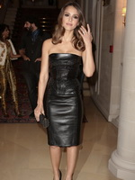 Jessica Alba showing her big boobs wearing short tight leather strapless dress at Versace Haute Couture show,Paris Fashion Week from CelebMatrix
