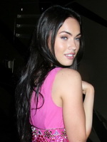 Gorgeous Megan Fox cleavy and leggy wearing hot pink mini dress out in New York from CelebMatrix