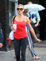Cameron Diaz spotted in a skimpy red top and tights out in New York City from CelebMatrix