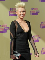 Miley Cyrus flashing her big assets braless in black see through dress at MTV Video Music Awards in LA from CelebMatrix