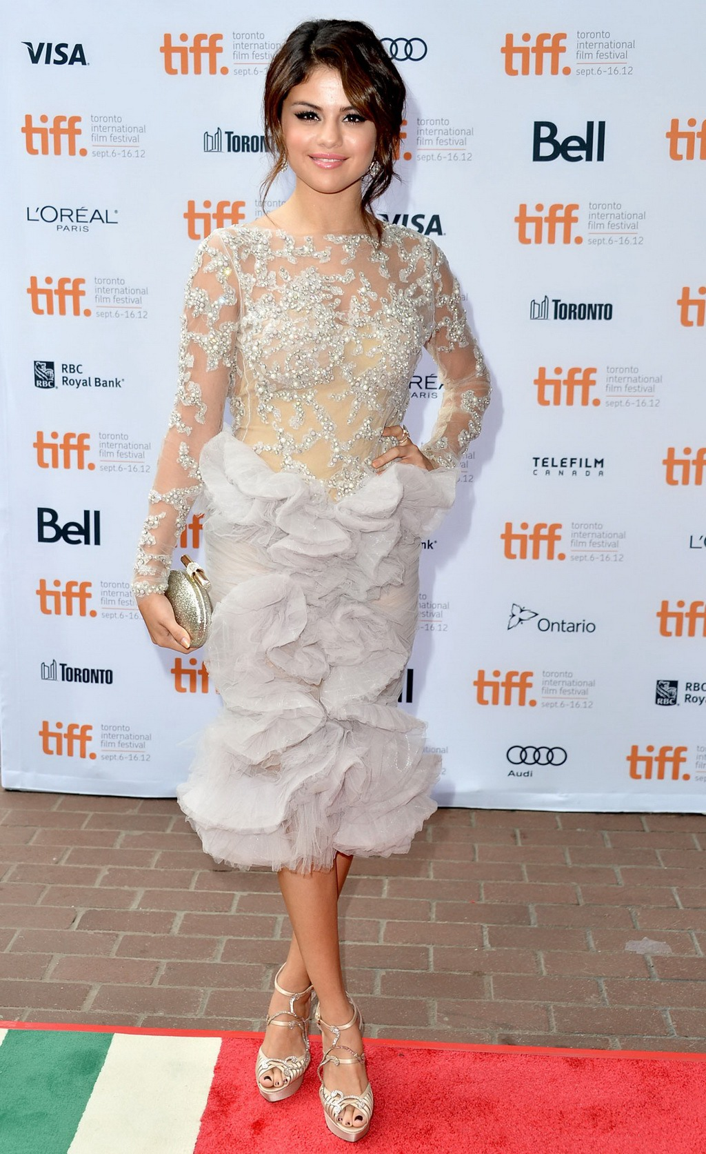 Selena Gomez busty wearing white see-through lace dress at Spring ...