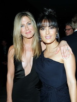 Jennifer Aniston shows huge cleavage wearing hot black revealing dress at LACMA Art Film event in LA from CelebMatrix