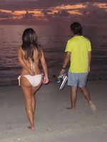 Kim Kardashian caught at night bath in tiny flesh colored bikini at the beach in Miami from CelebMatrix