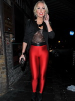 Aisleynne Horgan Wallace busty wearing see-through top and tights at Lipsy London Love launch party from CelebMatrix