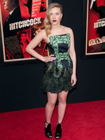 Scarlett Johansson wearing strapless leaf print mini dress at the Hitchcock premiere from CelebMatrix