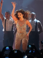 Jennifer Lopez wearing see-through outfit and fishnets while performs live at hall Arena of Belgrade from CelebMatrix