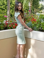 Megan Fox showing her hot body in short light blue dress at This Is 40 photoshoot in Los Angeles from CelebMatrix