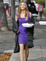 AnnaLynne McCord so hot wearing purple mini dress on 90210 set in Los Angeles from CelebMatrix
