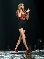 Taylor Swift showing off her long beautiful stems at the 2012 KIIS FM's Jingle Ball concert from CelebMatrix