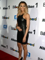Ciara wearing a wickedly hot skin tight leather mini dress at the 2012 Billboard Women In Music Luncheon from CelebMatrix