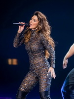 Shania Twain in partially see-through skin tight jumpsuit performing live at Shania Still the One debut show in Las Vegas from CelebMatrix