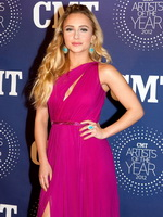 Hayden Panettiere busty and leggy in pink partially see-through dress at 2012 CMT artists of the year awards in Tennessee from CelebMatrix