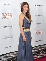 Jessica Biel showing huge cleavage in low cut gray dress at Playing For Keeps premiere in NYC from CelebMatrix