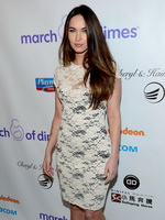 Megan Fox wearing white transparent mini dress at 7th annual March of Dimes celebration of babies in Hollywood from CelebMatrix