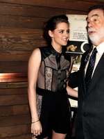 Kristen Stewart braless wearing short see-through outfit at On The Road screening in Los Angeles from CelebMatrix