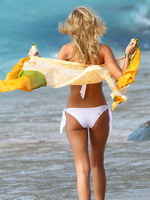 Erin Heatherton wearing white  polka dot bikinis at Victoria's Secret photoshoot in St Barts from CelebMatrix