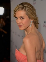 Petra Nemcova showing huge cleavage in a strapless pink maxi dress at the premiere of The Impossible in LA from CelebMatrix