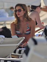 Ana Beatriz Barros shows off her hot body wearing multicolored bikini in Miami Beach from CelebMatrix