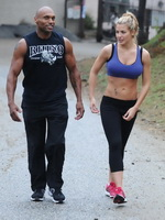 Gemma Atkinson wearing sport bra and tights while training in Hollywood Hills from CelebMatrix