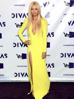 Havana Brown showing huge cleavage in a high slit yellow dress at 2012 VH1 Divas in Los Angeles from CelebMatrix