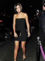 Frankie Sandford stunning in black tube mini dress at the Freedom Bar in London from CelebMatrix