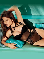 Diana Morales showing off her curves at Fredericks of Hollywood lingerie photoshoot from CelebMatrix