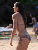 Alex Morgan shows off her hot body wearing two bikini sets on the beach in Hawaii from CelebMatrix