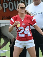 Jennifer Lopez stunning in a hot jersey at the charity football game in Puerto Rico from CelebMatrix