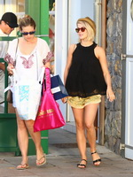 Julianne Hough wearing skimpy shorts  overall top while on vacation in St Barts from CelebMatrix