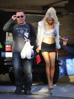 Courtney Stodden wearing see-through to bra belly top  mikro skirt outside her home in Hollywood Hills from CelebMatrix