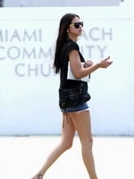Adriana Lima looks hot wearing denim shorts  skimpy top out in Miami from CelebMatrix
