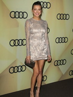 Katie Cassidy wearing white shiny lace mini dress at Audi Golden Globe 2013 kick off party in LA from CelebMatrix