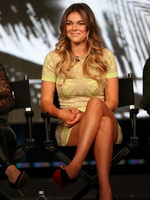 Serinda Swan upskirt in mini dress at USA 2013 TCA winter press tour party in Pasadena from CelebMatrix
