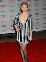 Emily Procter braless showing huge cleavage in a hot mini dress at the 33rd Annual People's Choice Awards in LA from CelebMatrix