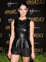 Ashley Greene wearing black tight leather top  shorts at Andrea's Grand Opening at Wynn in Las Vegas from CelebMatrix