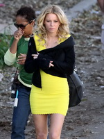 Elizabeth Banks wearing tight yellow mini dress while filming Walk Of Shame in Los Angeles from CelebMatrix