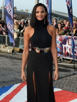 Alesha Dixon wearing tight black high slit dress at the Got Talent audition in Cardiff from CelebMatrix