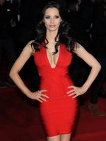 Jessica Jane Clement braless showing huge cleavage in red mini dress at theFlight premiere in London from CelebMatrix