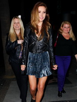 Audrina Patridge cleavy and leggy wearing hot mini skirt  leather jacket at the Emerson nightclub in Hollywood from CelebMatrix
