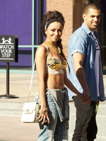 Kat Graham exposing her hot body in a belly top  jeans out of the studio in LA from CelebMatrix
