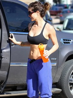 Brooke Burke busting out in sport bra and leggings while workout in Malibu from CelebMatrix