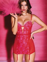 Barbara Palvin busting out in tiny lingerie at Victoria's Secret Valentines Day PS from CelebMatrix