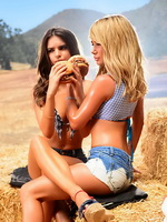 Emily Ratajkowski  Sara Jean Underwood in bikini tops and hotpants at Carl's Jr.Burger commercial photoshoot from CelebMatrix